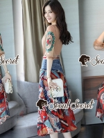 Seoul Secret Say's...Fashionally Denim-Chiffon Printed Skirt Set