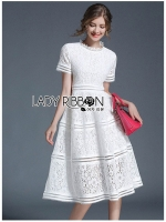 🎀 Lady Ribbon's Made 🎀 Lady Leah Striped Layered White Lace Dress