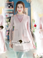 Seoul Secret Say's... Pastel Salmon Pink Girly Dress Outer Set