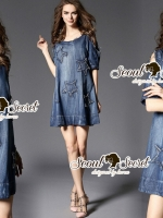 Seoul Secret Say's... Nifty Star Open Shoulder Denim Dress