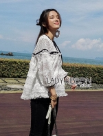 เสื้อผ้าแฟชันเกาหลี Lady Ribbon's Made Lady Hana Sweet Casual White Lace Blouse with Black Ribbon