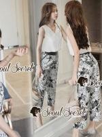 เสื้อผ้าแฟชั่นเกาหลี Seoul Secret Say's... Leaffy Print Pants Open Back Cami Set