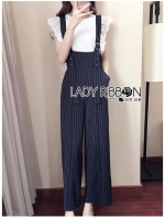 เสื้อผ้าแฟชั่นเกาหลี Lady Ribbon Thailand Serena Belt-Strap Overall Jumpsuit with Lace Knit T-Shirt Set