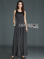 Lady Ribbon's Made Lady Chloe Minimal Chic and Elegant Striped Cotton and Chiffon Jumpsuit