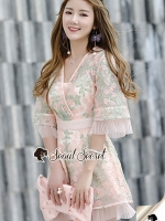 Seoul Secret Say's... Lovely Peachy Mint Organdy Blossom Stick Dress