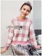 เสื้อผ้าแฟชั่นเกาหลี Lady Ribbon's Made Lady Cecil Tartan Weaves Knit Sweater
