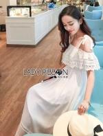 เสื้อผ้าแฟชั่นเกาหลี Lady Carine Casual Chic Off-Shoulder Ruffle Maxi Dress