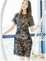 เสื้อผ้าแฟชั่นเกาหลี Lady Ribbon's Made Lady Natalie Sophisticated Chic Navy Blue and Nude Self-portrait Lace Dress