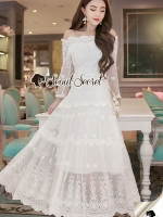 Seoul Secret Say's... Princess Curly Shoulder Off White Dress
