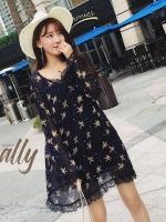 เสื้อผ้าแฟชั่นเกาหลี Lady Ribbon Thailand Normal Ally Orchid print summer dress