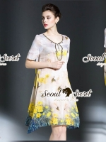 Seoul Secret Say's... Vintage Yellow Blossom Print Dress