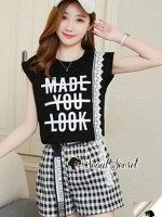 Seoul Secret Says'...Size : Sleeveless Shirt Screen MADE YOU LOOK Scott Set