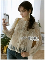 เสื้อผ้าแฟชั่นเกาหลี Lady Ribbon Thailand's Made Lady Nana Button-Down Cream Lace Blouse