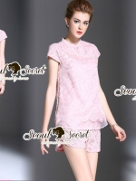 Seoul Secret Say's... Pastel Pink Cheongsam Lace Set