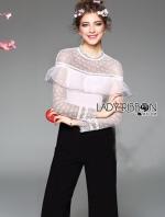 เสื้อผ้าแฟชั่นเกาหลี Lady Ribbon's Made Lady Angela Ruffle Lace Black & White Jumpsuit