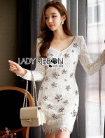 เสื้อผ้าแฟชั่นเกาหลี Lady Ribbon's Made Lady Aerin Sparkling Glow Embellished Lace Dress in White