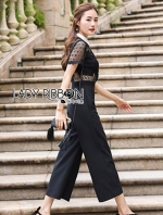 เสื้อผ้าแฟชั่นเกาหลี Lady Ribbon's Made Lady Cindy Collared Black & White Lace and Crepe Jumpsuit