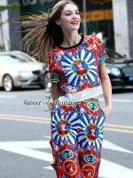 เสื้อผ้าแฟชั่นเกาหลี Sweet Bunny Present... D&G Red Circle Color Full Print Set