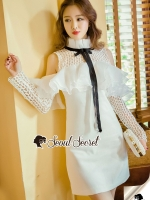 Seoul Secret Say's... Lacely Loopy Ornametal Fringe Ivory Dress