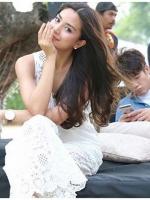 เสื้อผ้าแฟชั่นเกาหลี Lady Layla Holiday Chic White Lace Wrap Jumpsuit