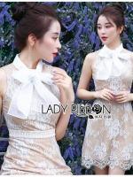 เสื้อผ้าแฟชั่นเกาหลี Lady Ribbon's Made Lady Grace Refined Chiffon Ribbon Lace Mini Dress