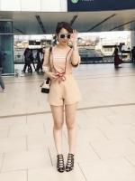 เสื้อผ้าแฟชั่นเกาหลี Normal Ally Present Embroider Mini Heart Chic playsuit