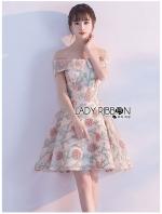 เสื้อผ้าแฟชั่นเกาหลี Lady Ribbon's Made Lady Erin Off-Shoulder Pink Flower Embroidered Tulle Mini Dress