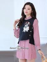 เสื้อผ้าแฟชั่นเกาหลี Sweet Bunny Present... Kid Dog Stripe Red Shirt Dress Jacket