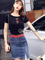Seoul Secret Say's... Rose T Shirt with Pierce Denim Skirt Set
