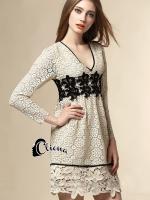เสื้อผ้าแฟชั่นเกาหลี Cliona made Vanilla Luxury Lace Dress -