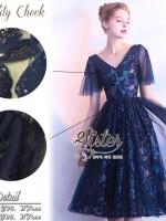 เสื้อผ้าแฟชั่นเกาหลี 2Sister made, Navy Sparkling Premium Charming Dress