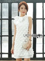 Lady Ribbon's Made Lady Smart Feminine Floral Embroidered White Chiffon with Ribbon
