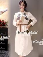 Seoul Secret Say's... Vintage Blossom Ivory Shirt Dress