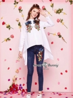 เสื้อผ้าแฟชั่นเกาหลี Sweet Bunny Present... Zara Embroidered Shirt With Jeans Day Set