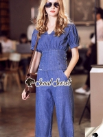 Seoul Secret Say's...Chic Chic Set Jean Chiffon Doll Sleeve
