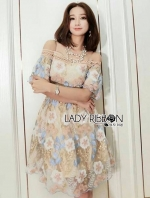 เสื้อผ้าแฟชั่นเกาหลี Lady Ribbon's Made Lady Isabella Off-Shoulder Pastel Lace Dress