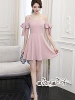 เสื้อผ้าแฟชั่นเกาหลี Lady Ribbon Thailand Seoul Secret Say's... BowBow Shouldering Love Pink Dressed