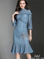 เสื้อผ้าแฟชั่นเกาหลี 2Sister made, Blue British Smart Lady Lace