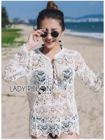 🎀 Lady Ribbon's Made 🎀Lady Naomi Beach Summer Style White Crochet Dress