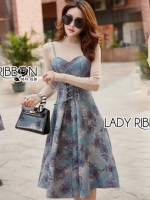 เสื้อผ้าแฟชั่นเกาหลี Lady Ribbon's Made Lady Amanda Flower Printed Lace-Down Single Dress