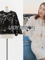 เสื้อผ้าแฟชั่นเกาหลี Lady Ribbon's Made Gabby Basic Lace Cropped Top with Back Ribbon