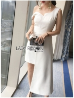 เสื้อผ้าแฟชั่นเกาหลี Lady Ribbon Thailand Lady Ribbon's Made Lady Cassandra Asymmetric Cocktail Dress