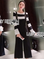 เสื้อผ้าแฟชั่นเกาหลี Lady Ribbon's Made Lady Victora Minimal Chic Striped Blue and Belted Overall Jumpsuit Set