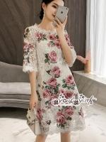 เสื้อผ้าแฟชั่นเกาหลี Lady Ribbon Thailand Seoul Secret Say'...Lace Rose Sweet Dress So Cute Style Korea
