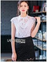 เสื้อผ้าแฟชั่นเกาหลี Lady Ribbon's Made Lady Lindsay Basic Lace Sleeveless Top