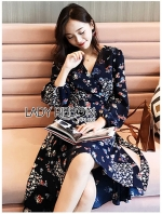 เสื้อผ้าแฟชั่นเกาหลี Lady Ribbon's Made Lady Monica Floral Patterned Printed Wrap Dress