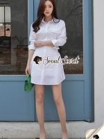 Seoul Secret Say's... Roppy Side Waist Ivory Shirt Dress