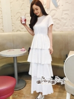 เสื้อผ้าแฟชั่นเกาหลี Lady Ribbon Thailand Seoul Secret Say's...Maxi Dress Layers Gray & White Chic Chic