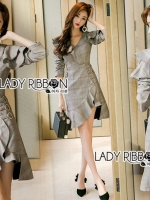 เสื้อผ้าแฟชั่นเกาหลี Lady Ribbon's Made Lady Jessica Smart Feminine Ruffle Suit Dress