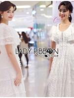 เสื้อผ้าแฟชั่นเกาหลี Lady Ribbon's Made Lady Ashley Pure Royal Lace-Down White Lace Dress